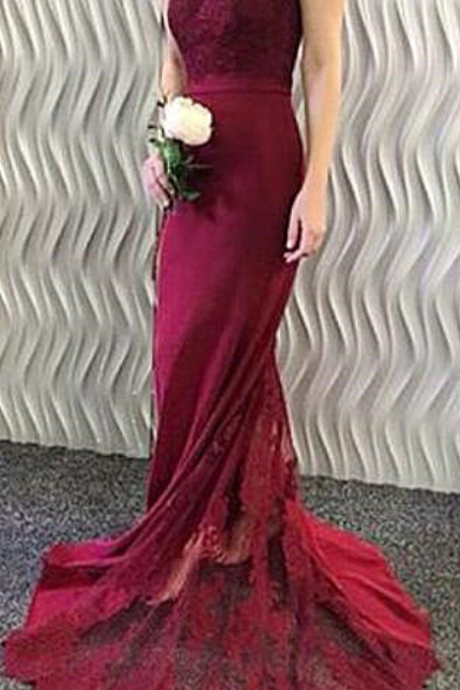 Custom Made Lace Off the shoulder Prom Dress,Evening Dress,Mermaid Bridesmaid Dress,Burgundy Prom Gowns