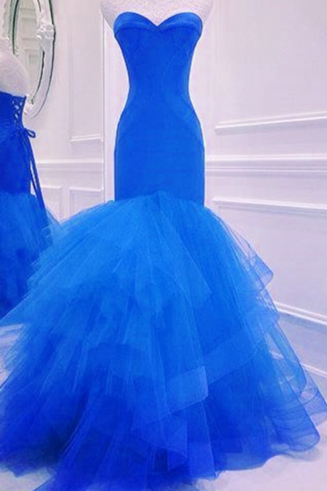 New Arrival Prom Dress,Modest Prom Dress,prom dress,royal blue prom dress,mermaid prom dress