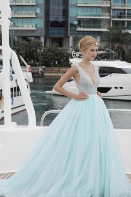 dde36f5f450 Light Blue V-Neck Prom Dress