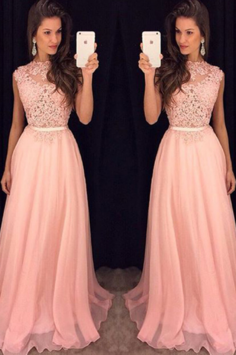 Pink Chiffon Prom Dress,Long Prom Dresses,Charming Prom Dresses,Evening Dress, Prom Gowns, Formal Women Dress,prom dress