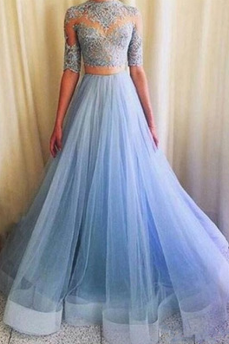 Pretty Prom Dress,Tulle Prom Dress,Appliques Prom Dress,Half-Sleeves Prom Dress