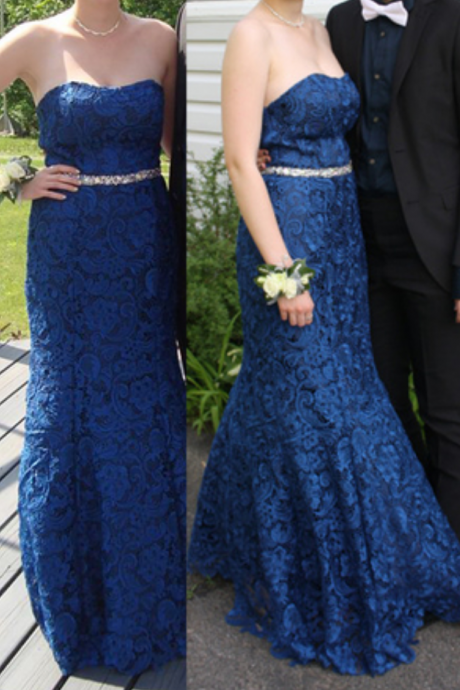 Charming Prom Dress,Lace Prom Dress,Mermaid Prom Dress,Strapless Prom Dress