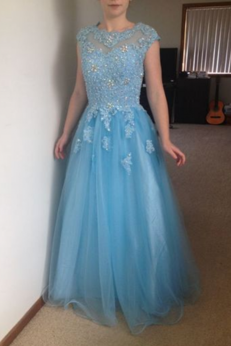 Charming Prom Dress,Tulle Prom Dress,Appliques Prom Dress,Appliques Prom Dress