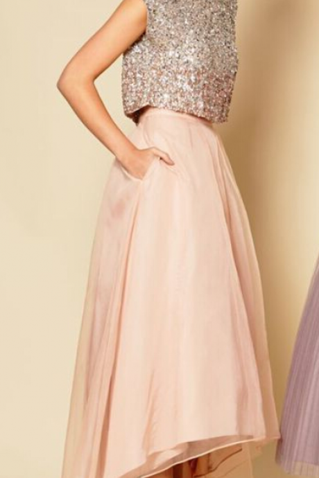 Shining Two Piece Prom Dress Women Clothing Prom Dress pink homecoming dresses party dresses
