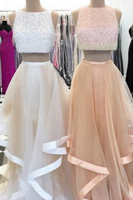 Champagne Prom Dresses,2 Pieces Prom Gowns,2 piece Prom Dresses,Tulle Prom Dresses,Tulle Prom Gown,Evening Gown With Beading For Teens