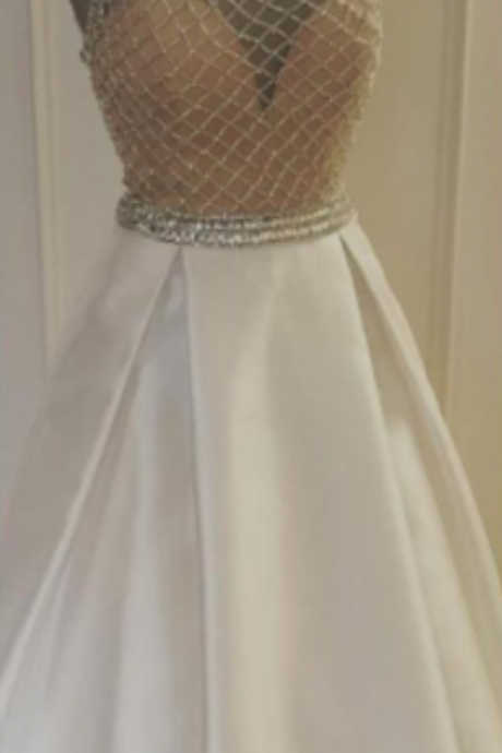 Beads Long White Prom Dress 2017, Sparkly Prom Dress