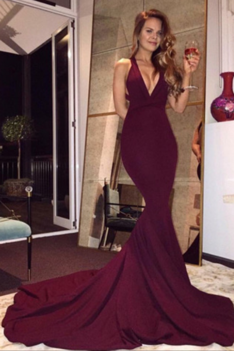 Gorgeous V-neck Long Mermaid Prom Dress with Train