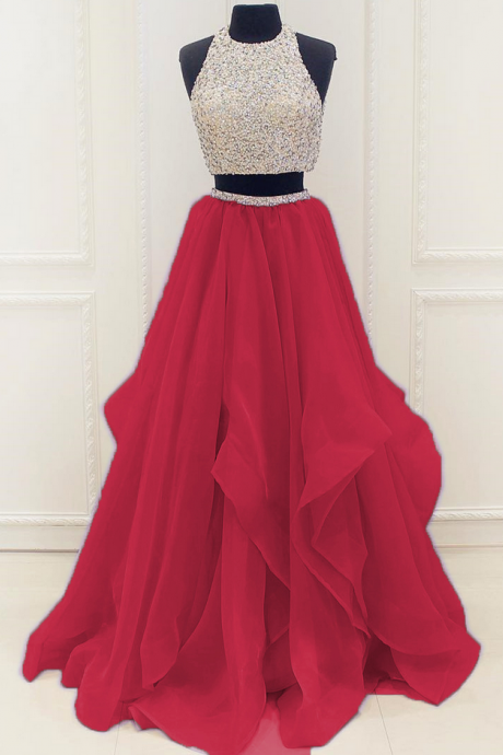 Sexy Prom Dress,Sleeveless Two Piece Prom Dress,Sexy Evening Dress,Long Evening Gowns
