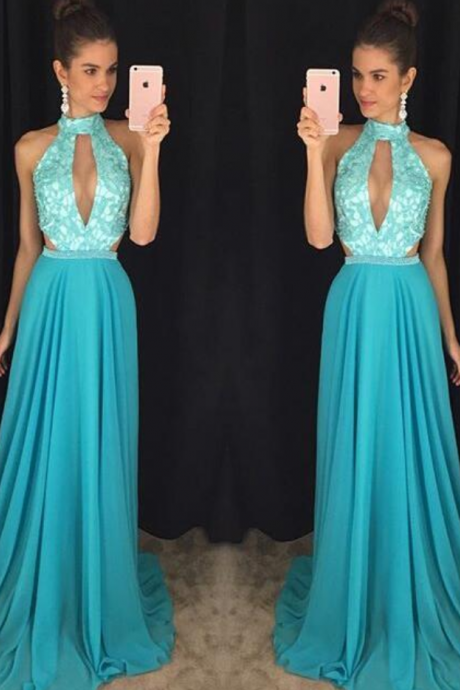 Charming Prom Dress,Sleeveless Backless Prom Dress,Chiffon Evening Dress,Long Evening Gowns