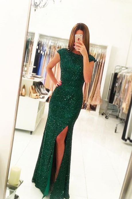 Green Prom Dress,Sequins Prom Dress ,Long Mermaid Evening Dress Backless , Sexy Slit Prom Gown