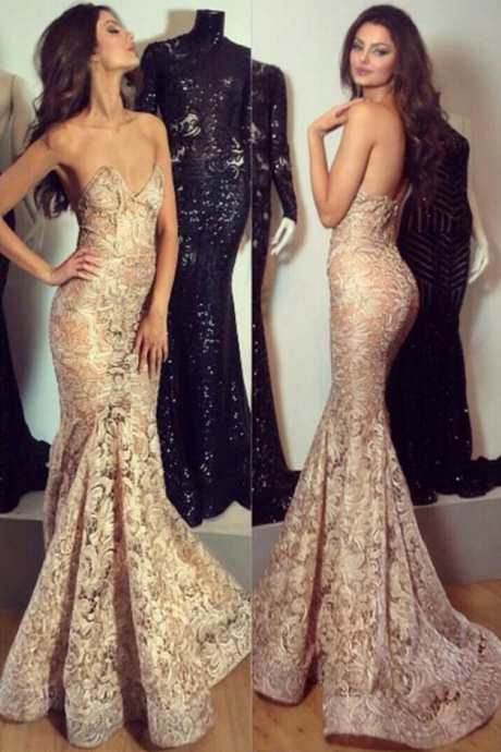 Glamorous Sweetheart Sweep Train Lace Champagne Mermaid Prom Dress