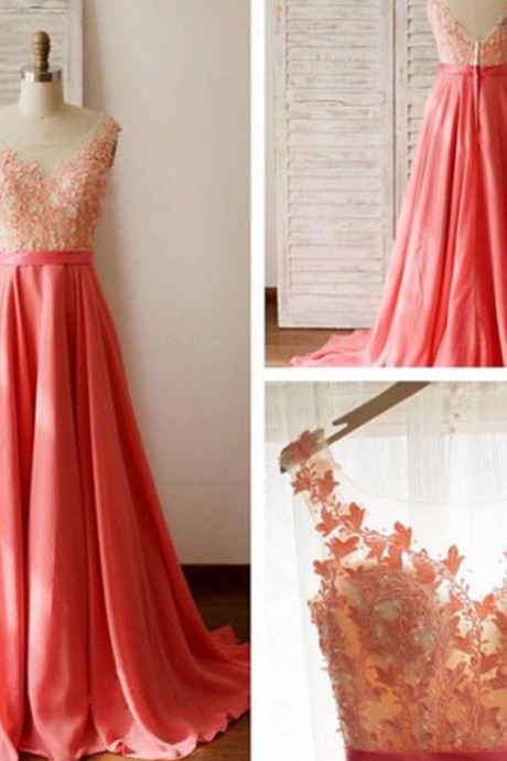 UNIQUE A-line ROUND NECK LACE CHIFFON LONG PROM DRESS FORMAL DRESS