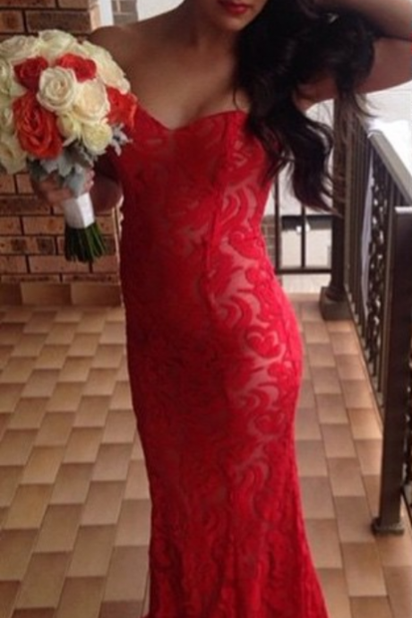 Evening Dresses Elegant New Arrival Cheap Mermaid Red Sweetheart Lace Long Formal Evening Party Gowns Abendkleider