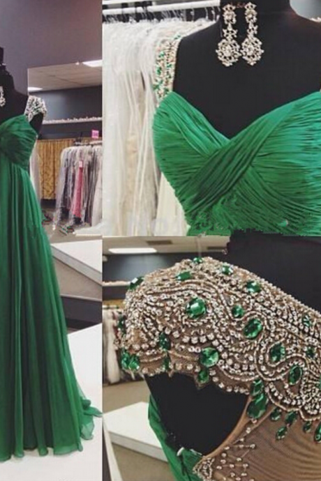Real Image Evening Dresses A-Line Emerald Green Sweetheart Cap Sleeves Ruched Rhinestones Beads Sheer Back Chiffon Long Formal Prom Party Gowns Vestidos