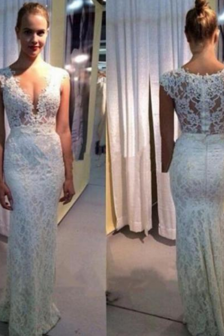Customized White Lace Wedding Dress,Sexy See Through Sleeveless Evening Dress,Deep V-Neck Wedding Gowns