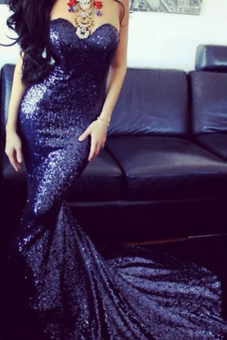 Custom Made Blue Sequin Sweetheart Neckline Mermaid Floor Length Prom Dress with Train