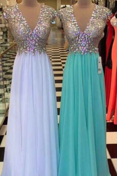 Custom Made Sparkly Sequin V-Neckline Chiffon Floor Length Prom Dress