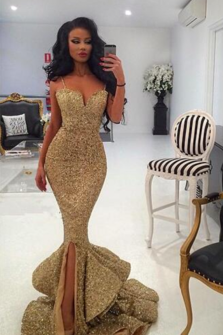 Charming Mermaid Sequins Prom Dress,Sexy V-Neck Spaghetti Straps Evening Dress,Sleeveless Beading Prom Gown