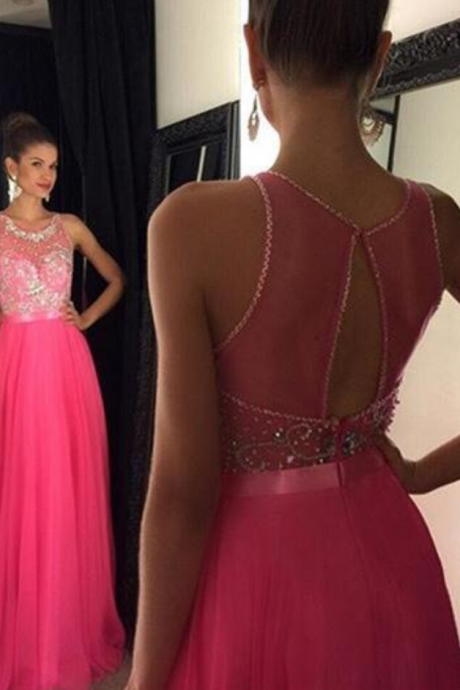 Custom Charming Rosy Beading Prom Dress, Sexy See Through Evening Dress, Sexy Open Back Prom Gown