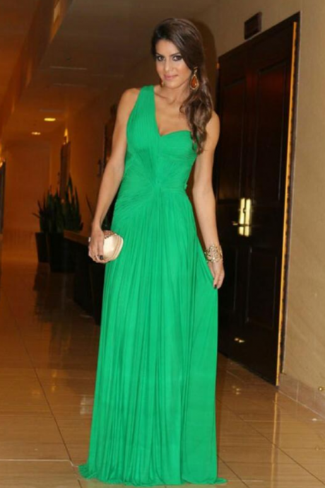 Custom Green Chiffon Prom Dress, Sexy One Shoulder Evening Dress ,Sexy Open Back Prom Dress