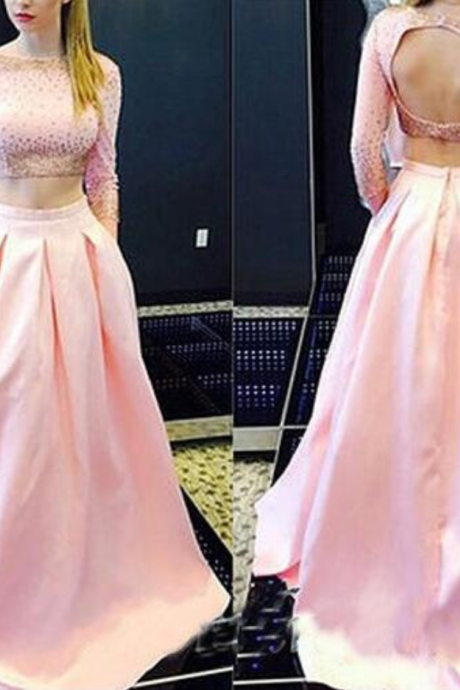 Charming Two Pieces Beading Pink Prom Dress,Sexy Long Sleeves Evening Dress,Sexy Open Back Prom Dress