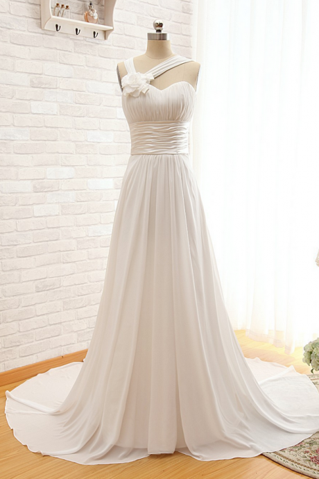 Sleeveless Off Shoulder Customize Floor Length Chapel Train Long Lace-Up Wedding Dresses Bridal Gown