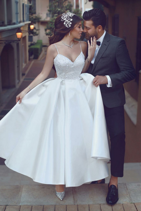 Ankle Length White Wedding Dress With Beads