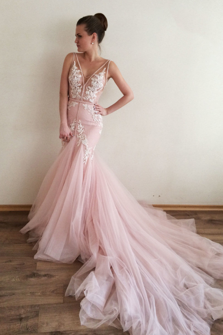 Pink Sexy Mermaid Wedding Dresses for Bride ,Deep V-neck Royal Train Wedding Bridal Gowns for Women