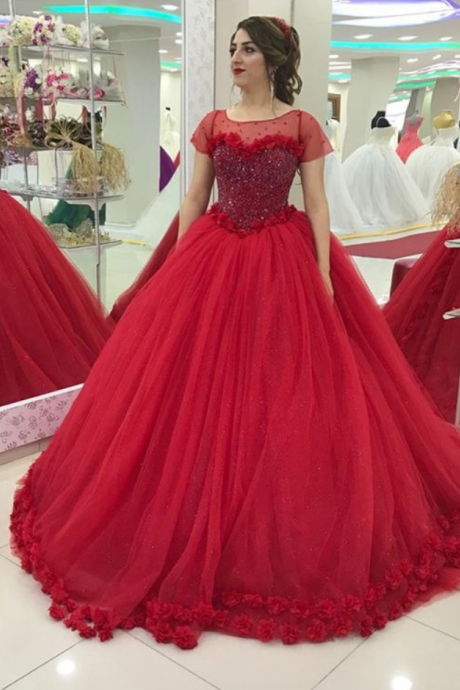 Corset Short Sleeves Red Bridal Dresses 2018,Embroidery Flowers Edge Ball Gowns Bridal Dresses,Wedding Dresses