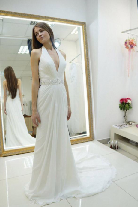 Halter Wedding Gown,Backless Wedding Dress With Sweep Train,Chiffon Wedding Dress with Beading