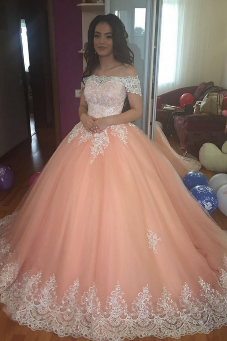 Coral Tulle Lace Bodice Off Shoulder Ball Gown Party Prom Dresses