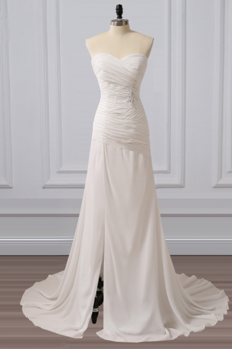 Strapless Sweetheart Ruched A-line Chiffon Wedding Dress Featuring Side Slit