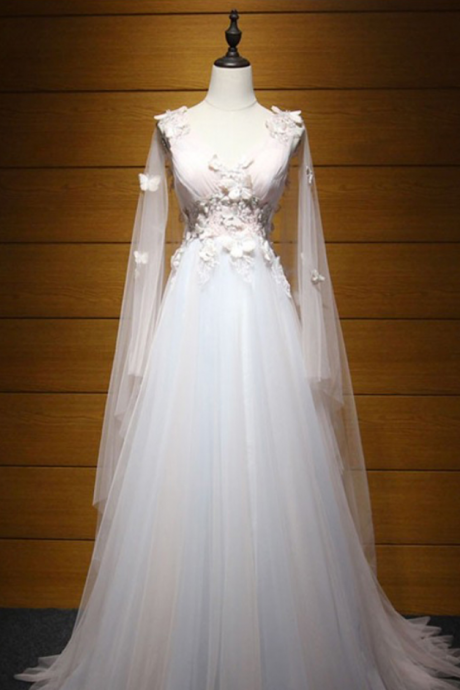 Long Wedding Dress, Tulle Wedding Dress, A-Line Bridal Dress, Sleeveless Wedding Dress