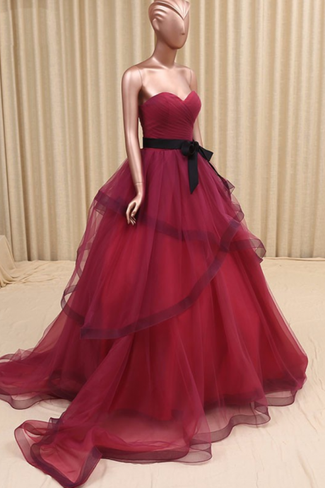 Burgundy Wedding Dress,Colorful Wedding Gown,Sweetheart Organza Bridal Dress