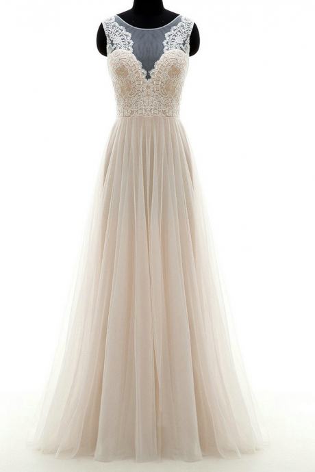 Sleeveless Sheer Lace Appliques A-line Floor-Length Wedding Dress, Bridal Gown