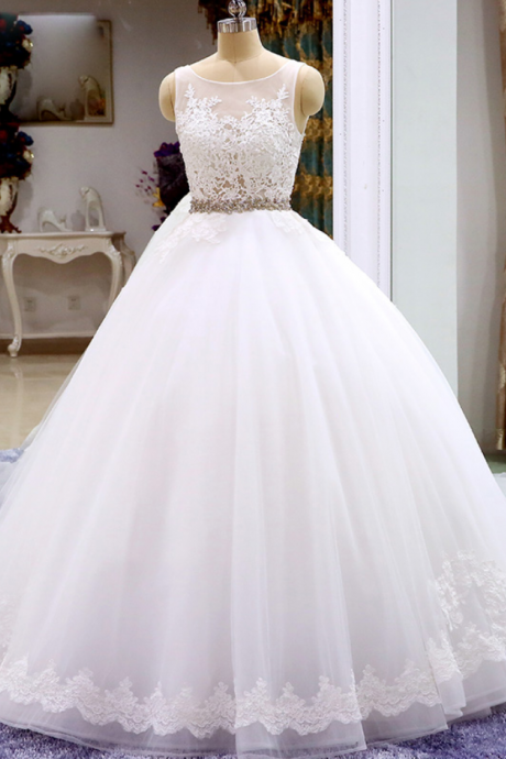 Sleeveless Sheer Lace Appliqués Ball Gown Wedding Dress Featuring V-Back and Long Train
