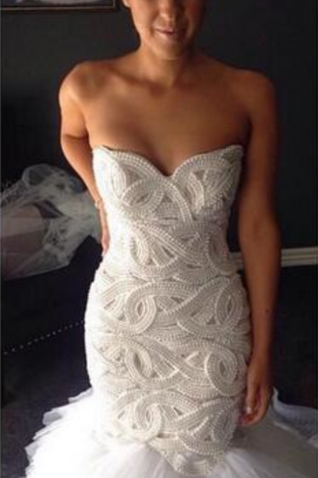 Strapless Sweetheart Pearl Beaded Mermaid Wedding Dress