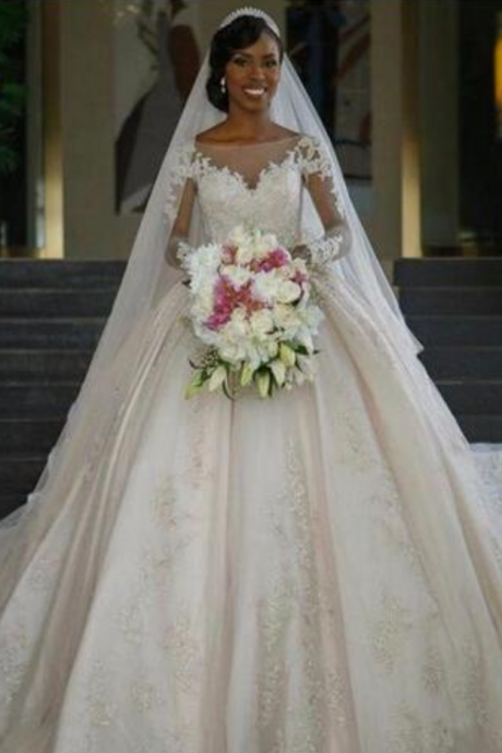 Princess Wedding Dresses Vestido De Noiva Manga Comprida Elegant Long Sleeve Wedding Dress