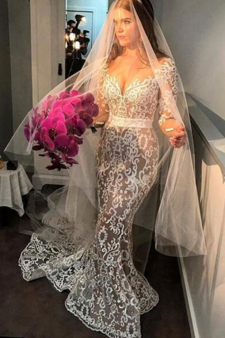 Sexy Mermaid Wedding Dresses Sweetheart Sheer Long Sleeve Lace Appliques Gorgeous