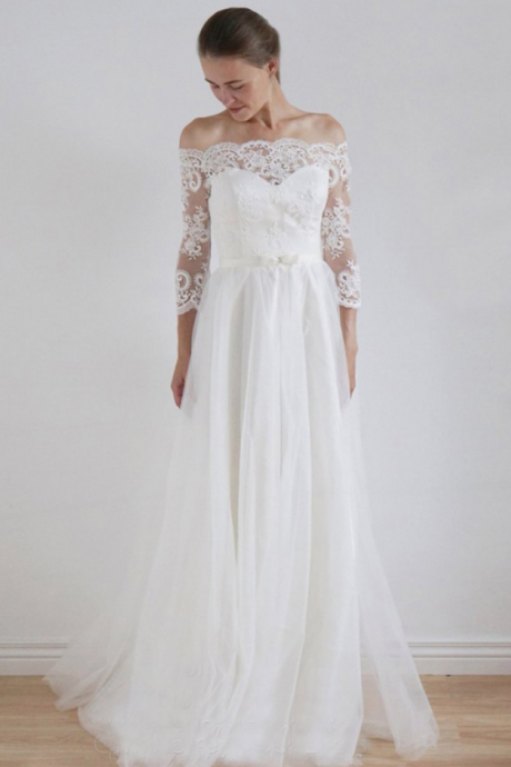 Long Wedding Dress, Lace Wedding Dress, A-Line Bridal Dress, Long Sleeve Wedding Dress