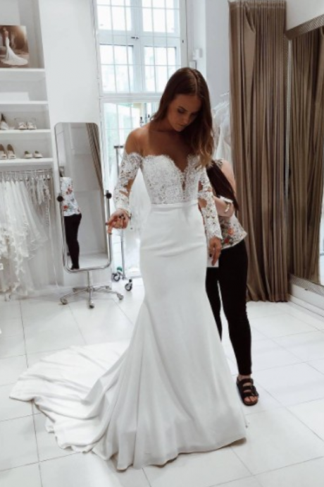 Mermaid Wedding Dress,Long Sleeves Bridal Dress,Sexy Off Shoulder Sleeves Wedding Gown