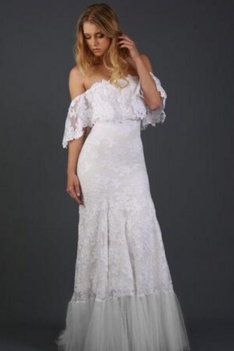 Off Shoulder Lace Bohemian Beach Wedding Dress with Floral Detailing and Soft Tulle Hemline Bride Gown