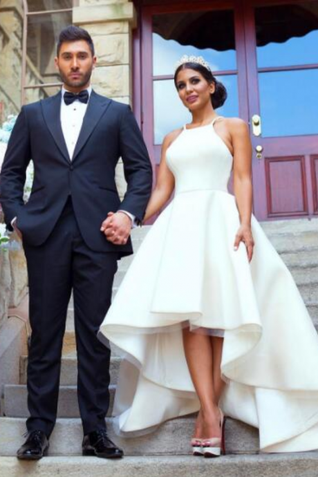 Simple Ivory Short A Line Wedding Dresses Short Front Long Back Elegant African Fashion Bridal wedding Gowns country Wedding