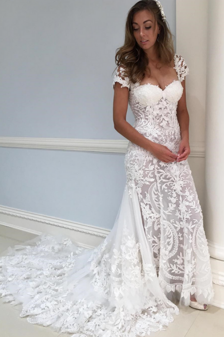 Gorgeous Cap Sleeves White Lace Long Wedding Dress