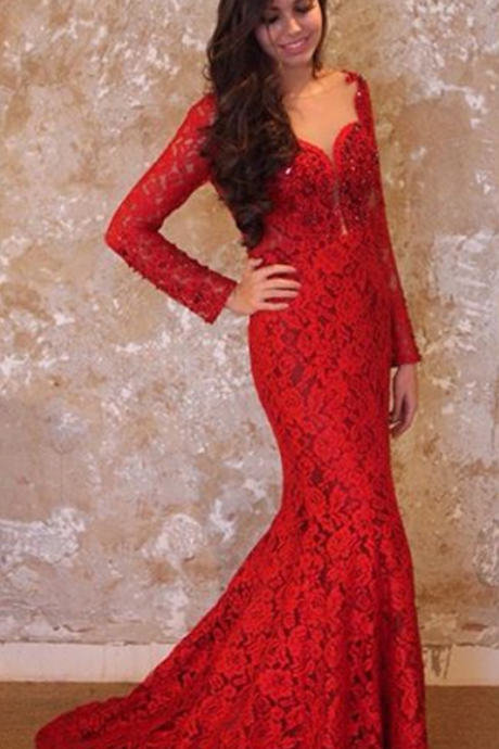 Backless Evening Dress, Red Evening Dress, Mermaid Evening Dress, Lace Evening Dress
