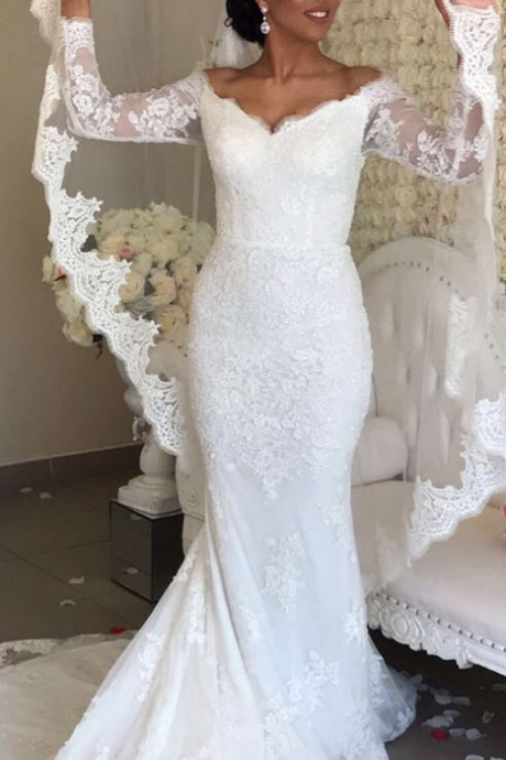 Appliques Lace Wedding Dress, Sexy Mermaid Wedding Dresses, Gergeous Long Sleeve Wedding Gowns