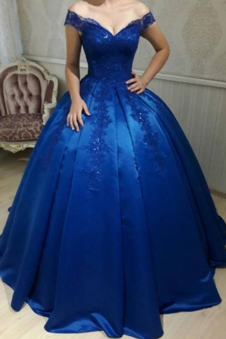 Off The Shoulder Princess Ball Gown Prom Dress,Formal Gown With Lace Appliques