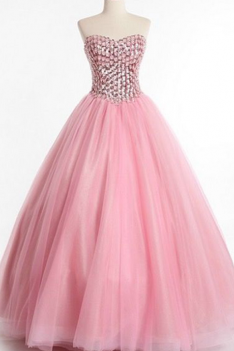 Formal Sweet 16 Dress,Sweet 15 Dresses, Puffy Tulle Prom Dress Beaded,Pageant Dress,Sweetheart,Prom Dresses