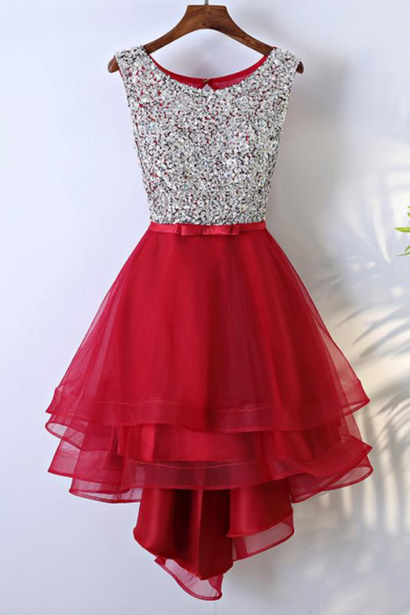 A-line Scoop Asymmetrical Prom Dress Juniors Homecoming Dresses