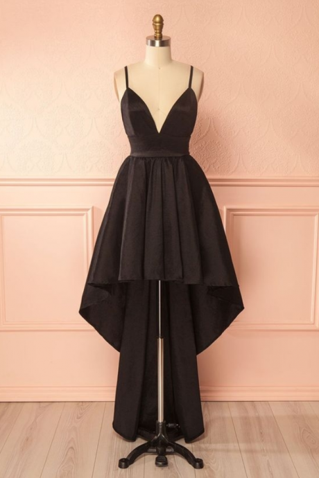 Black High-Low Party Dresses Spaghettis Straps Cocktail Dress